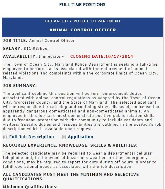 OCJobs Ocean City Police Department Animal Control Officer