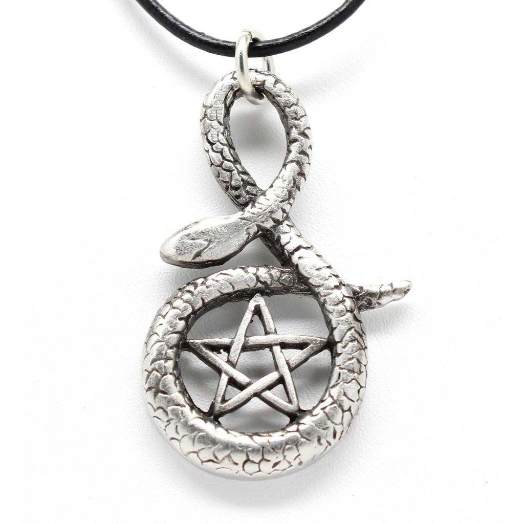 PENTAGRAM SNAKE Silver Pewter Pendant Leather Necklace
