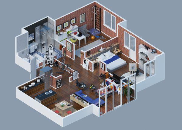 Facebook App by Dmitriy Schuka, via Behance 3d Pinterest Plans - Plan De Maison En 3d