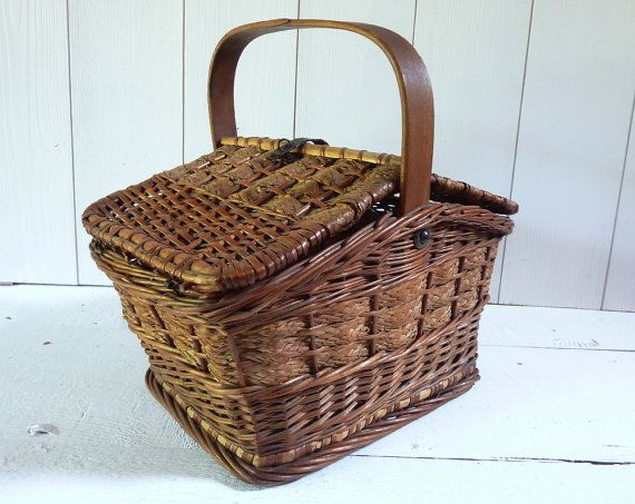 Antique Wicker Market Basket Antique PicNic Basket by LaLoupiote