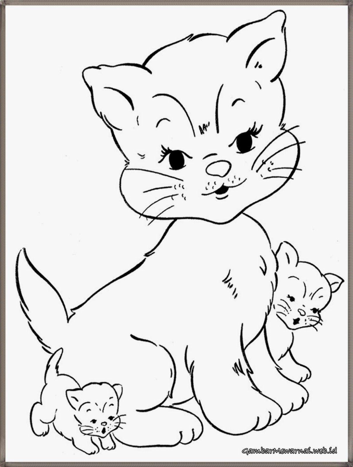 gambar mewarnai kucing dan anak kucing