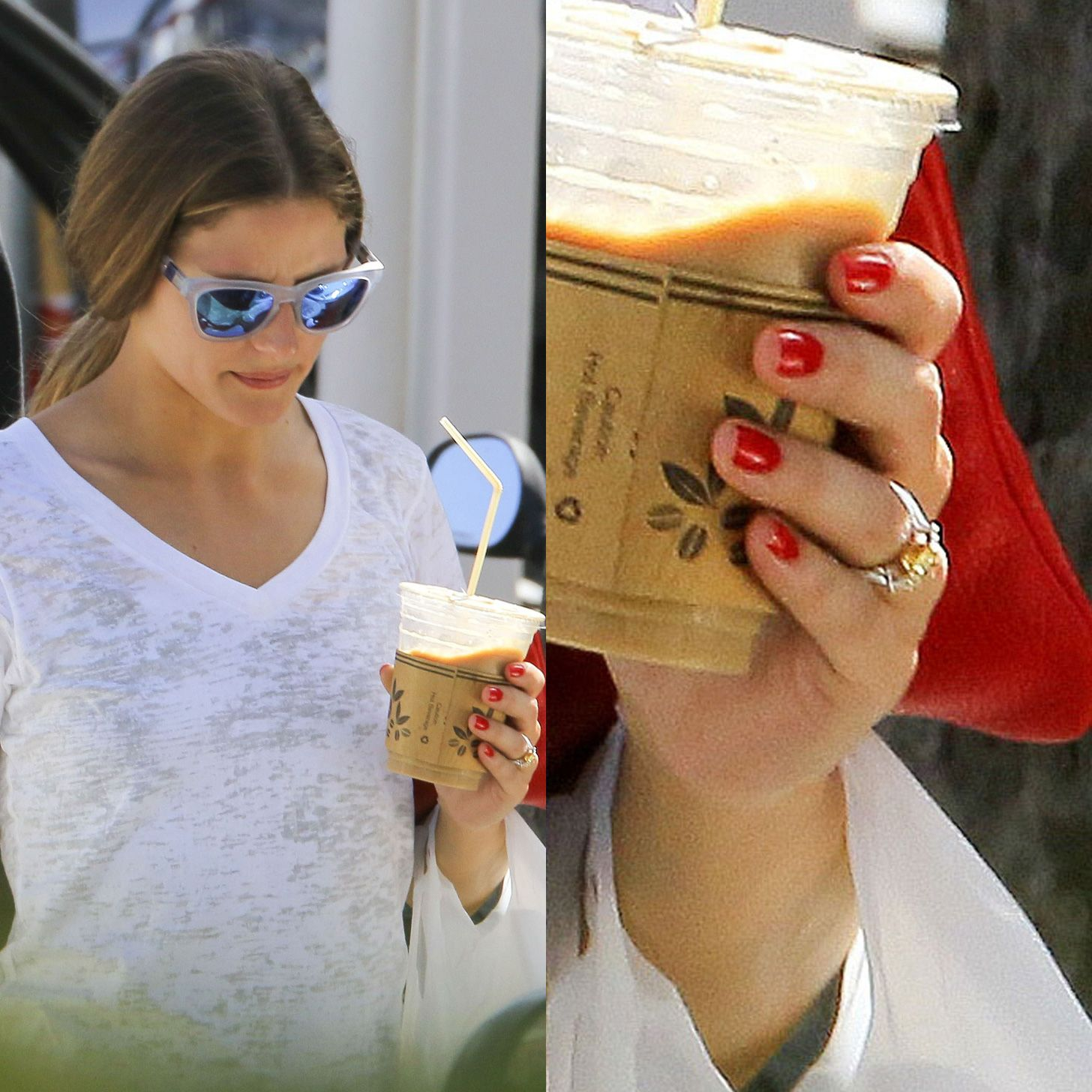 Merveilleux Olivia Palermo: Looks Like Three Emerald Cuts (with A Canary Center?).