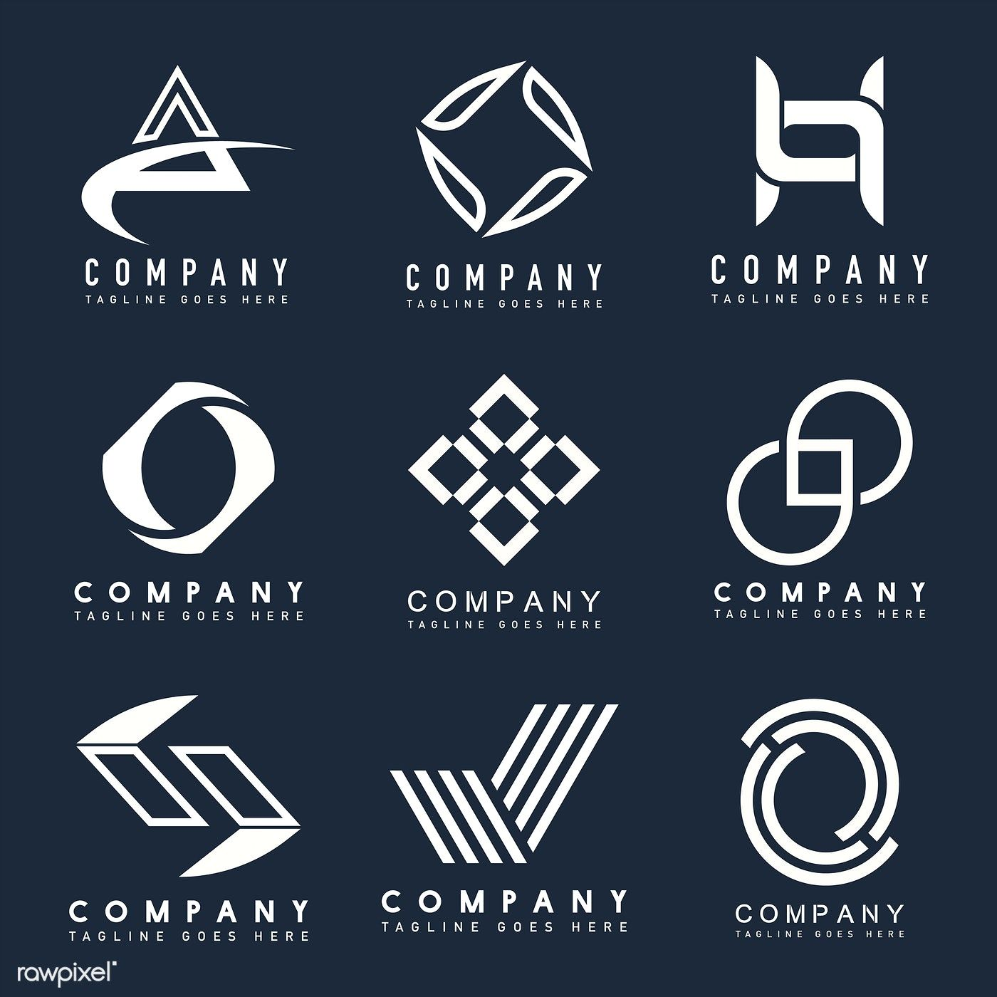 Download premium illustration of Set of company logo