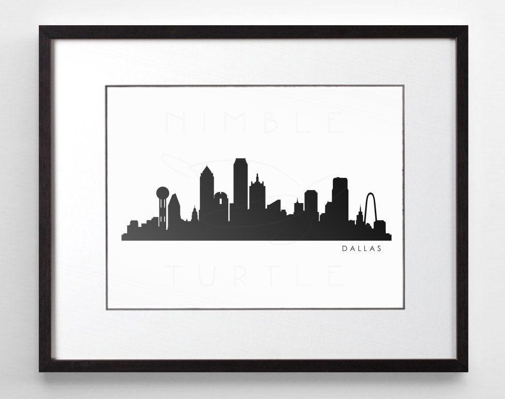 Dallas Skyline Silhouette Printable Skyline Dallas Texas Pdf Png Svg Eps Jpg Dallas Skyline Skyline Artwork Art