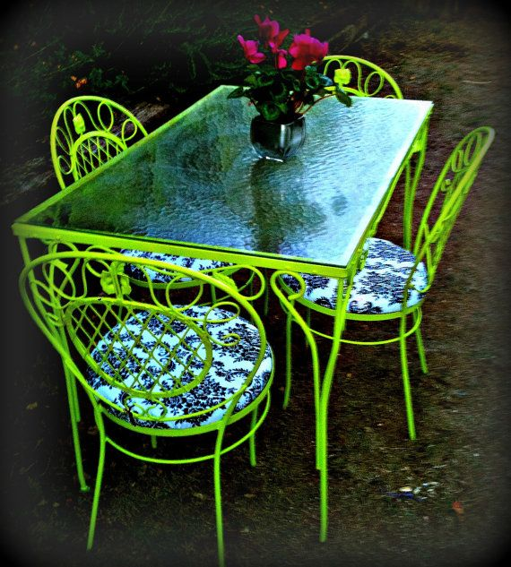 Lime Green Outdoor Table And Chairs Etsy White Patio Furniture Outdoor Tables And Chairs Outdoor Table