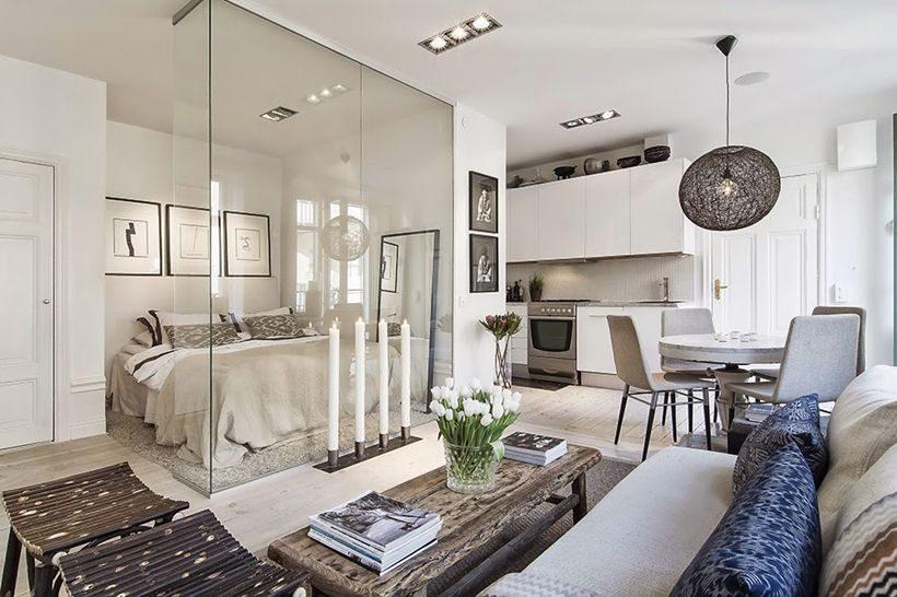 Apartment Swedish Design Small In Stockholm Encapsulating A Glass Walled Bedroom This Is How You An Efficiency Or