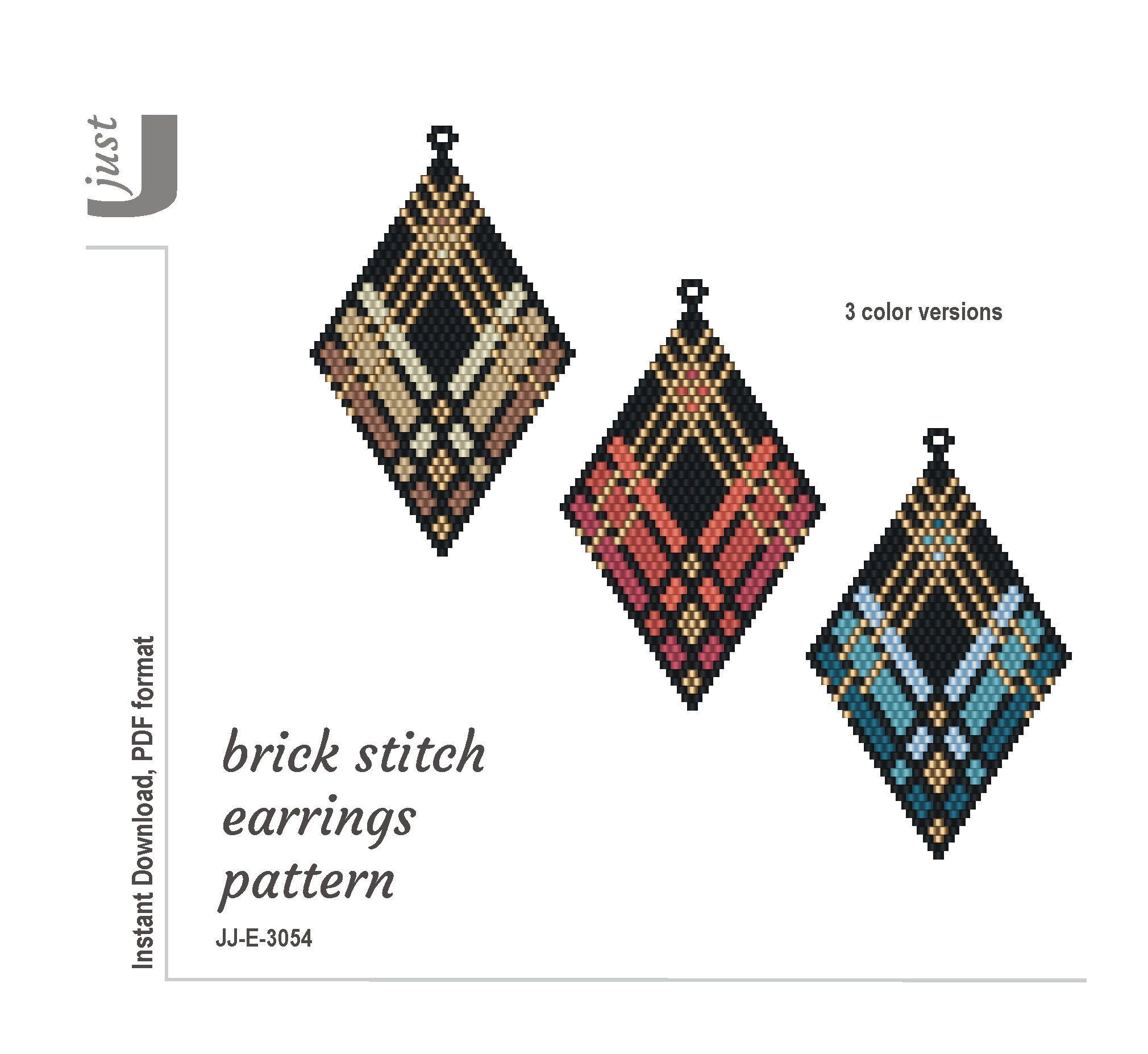Beaded Earring Pattern Brick Stitch Earrings Beading Pattern