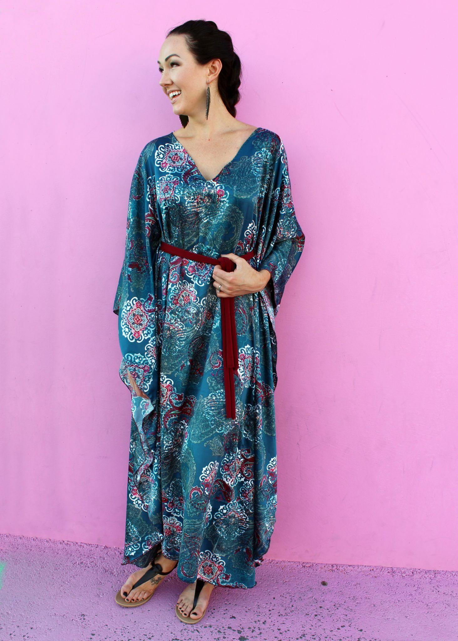 Easy Diy Caftan Dress Tutorial For Spring Creative Fashion Blog Kaftan Pattern Caftan Dress Dress Patterns Diy [ 2048 x 1463 Pixel ]
