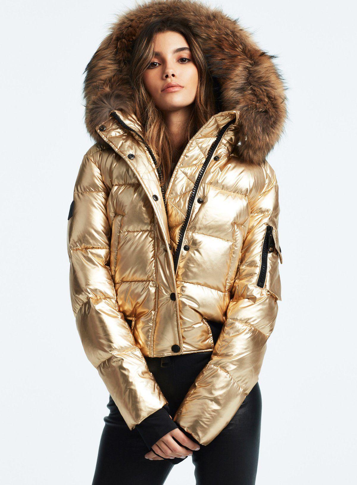 Skyler Gold Puffer Jacket Fur Hood Puffer Jacket Women Fur Hood Jacket [ 1631 x 1200 Pixel ]