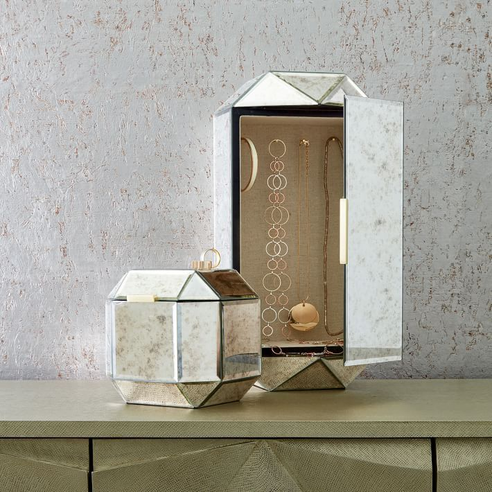 Faceted Mirror Boxes Boxes Pinterest Box Jewelry storage
