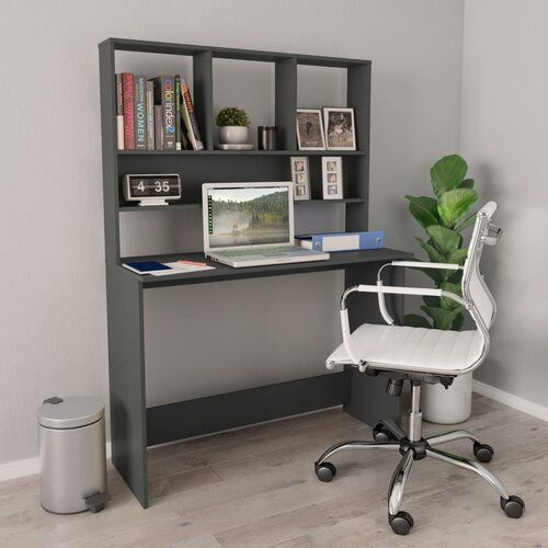 Ebern Designs Ebern Designs Desk With Shelves Grey 110x45x157 Cm Chipboard Wayfair Co Uk In 2020 Desk Shelves Desk Design Home Office Design
