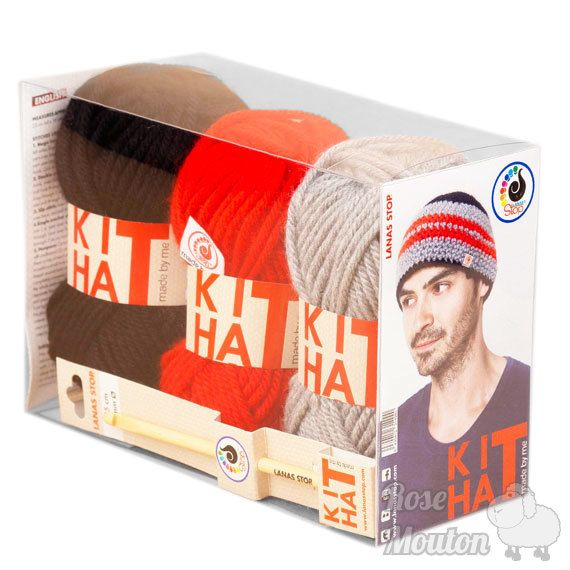 """Kit Hat"" coloris 100-807-101 https://www.rosemouton.com/lanas-stop-kit-hat-1394.html"