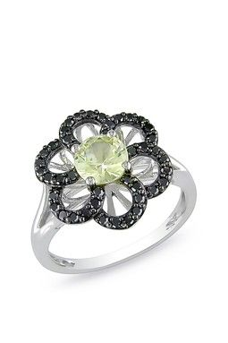Citrine and black diamond flower ring