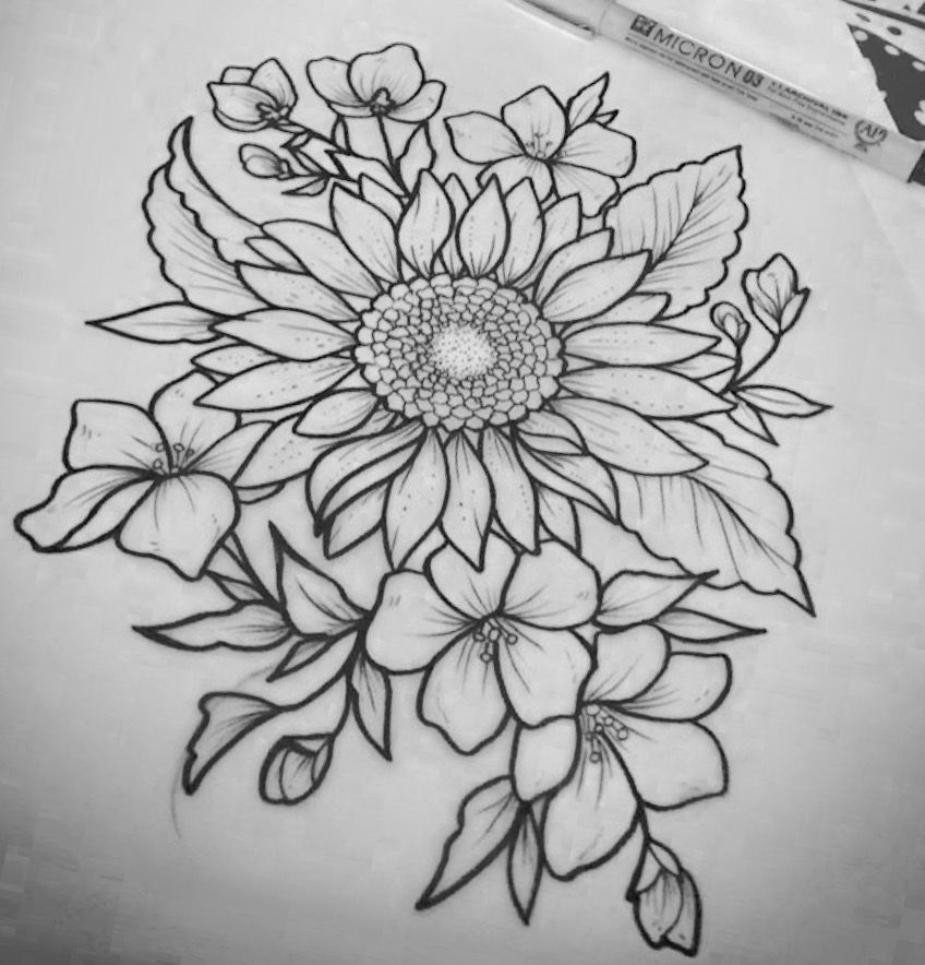 line sunflower tattoo Google Search Sunflower drawing