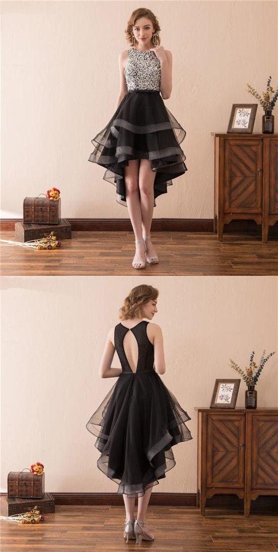 Scoop Neck Sleeveless Sequin Prom Dresses,High Low Graduation Dresses #graduationdresscollege