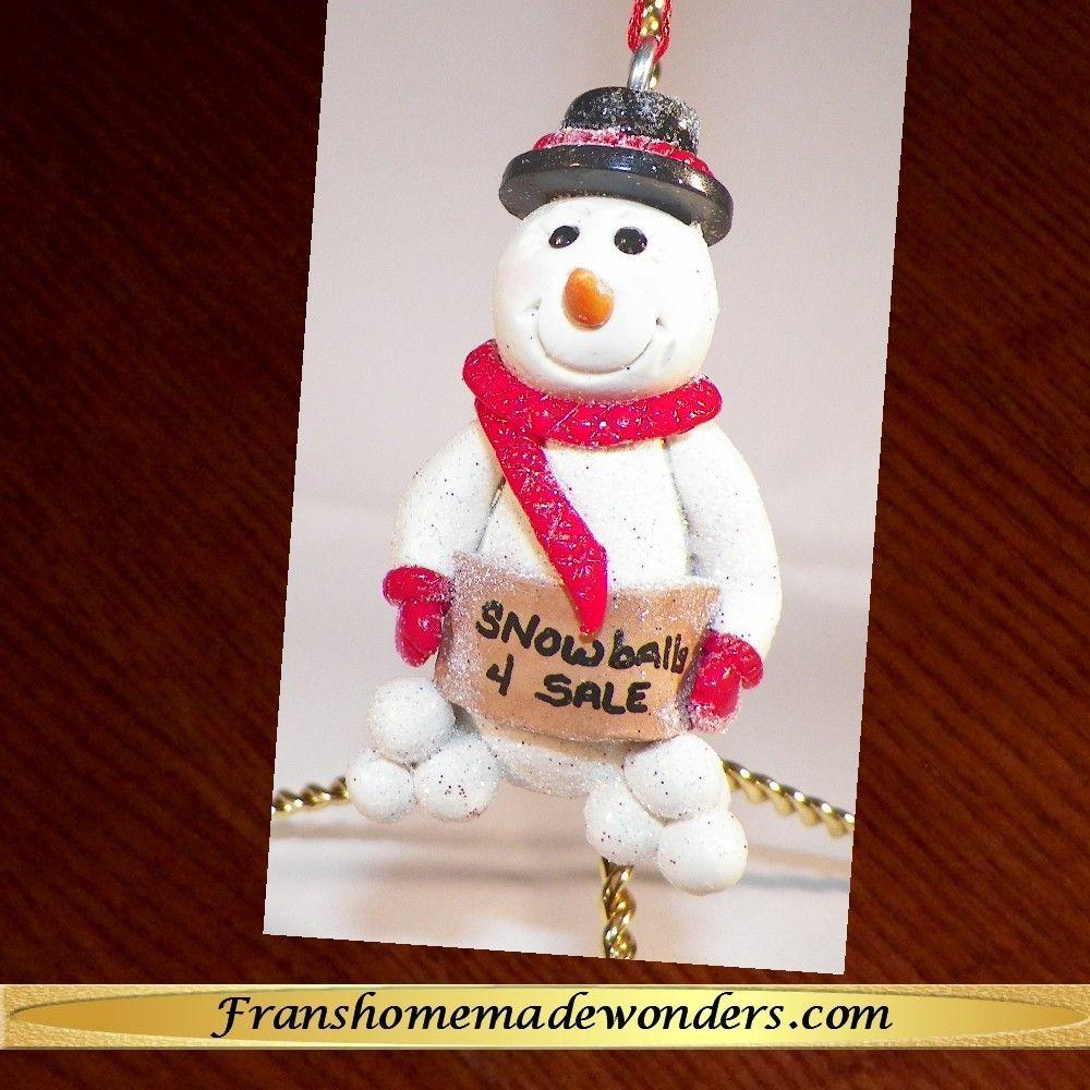 HANDMADE SNOWMEN CHRISTMAS ORNAMENTS-SNOWBALLS FOR SALE ...