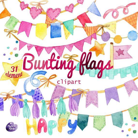 Aquarell Bunting Flaggen Clipart Geburtstag Urlaub Party