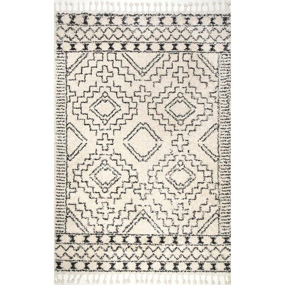 Nuloom Vasiliki Moroccan Tassel Shag Off White 9 Ft X 12 Ft Area Rug Gcdi02a 92012 The Home Depot Area Rugs Area Rug Sizes Rugs