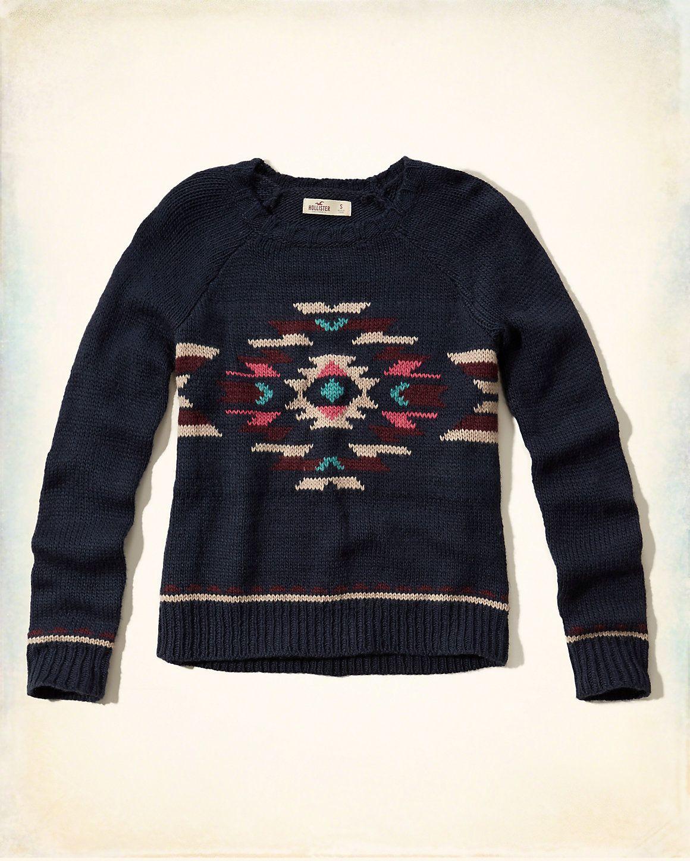 77e5af32ff Girls Patterned Crew Sweater