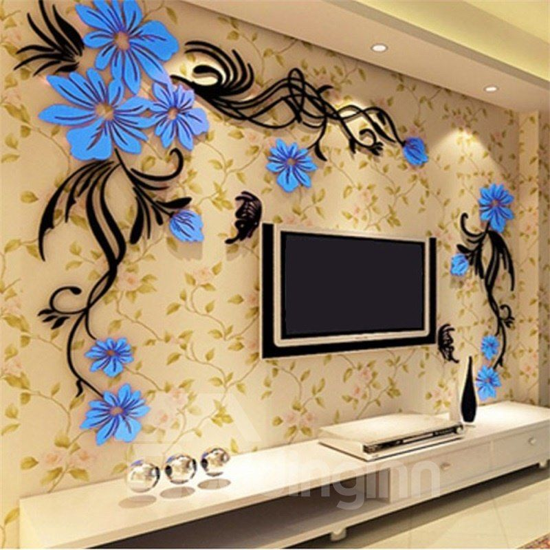 Elegant Flower Vine Pattern Acrylic Material Living Room 3d Wall