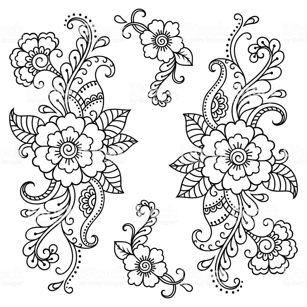 Henna Tattoo Flower Template Mehndi Style Stock Illustration