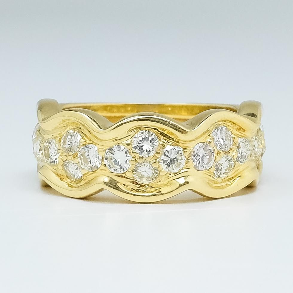 18k yellow gold ladies 140ctw si1ik diamond curved