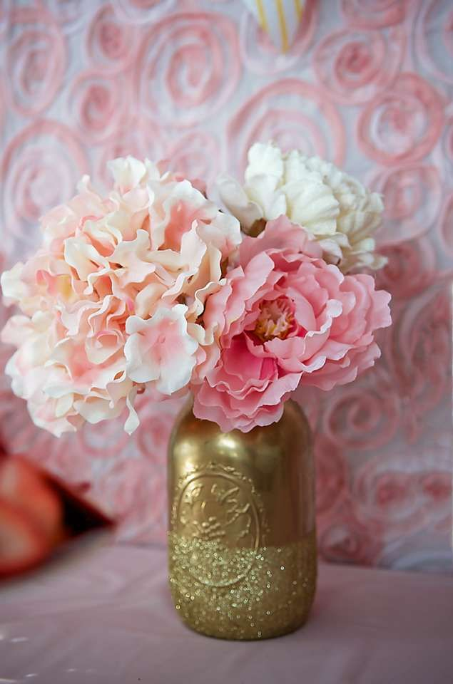 Garden tea party birthday party ideas gold mason jars for Flower arrangements for parties