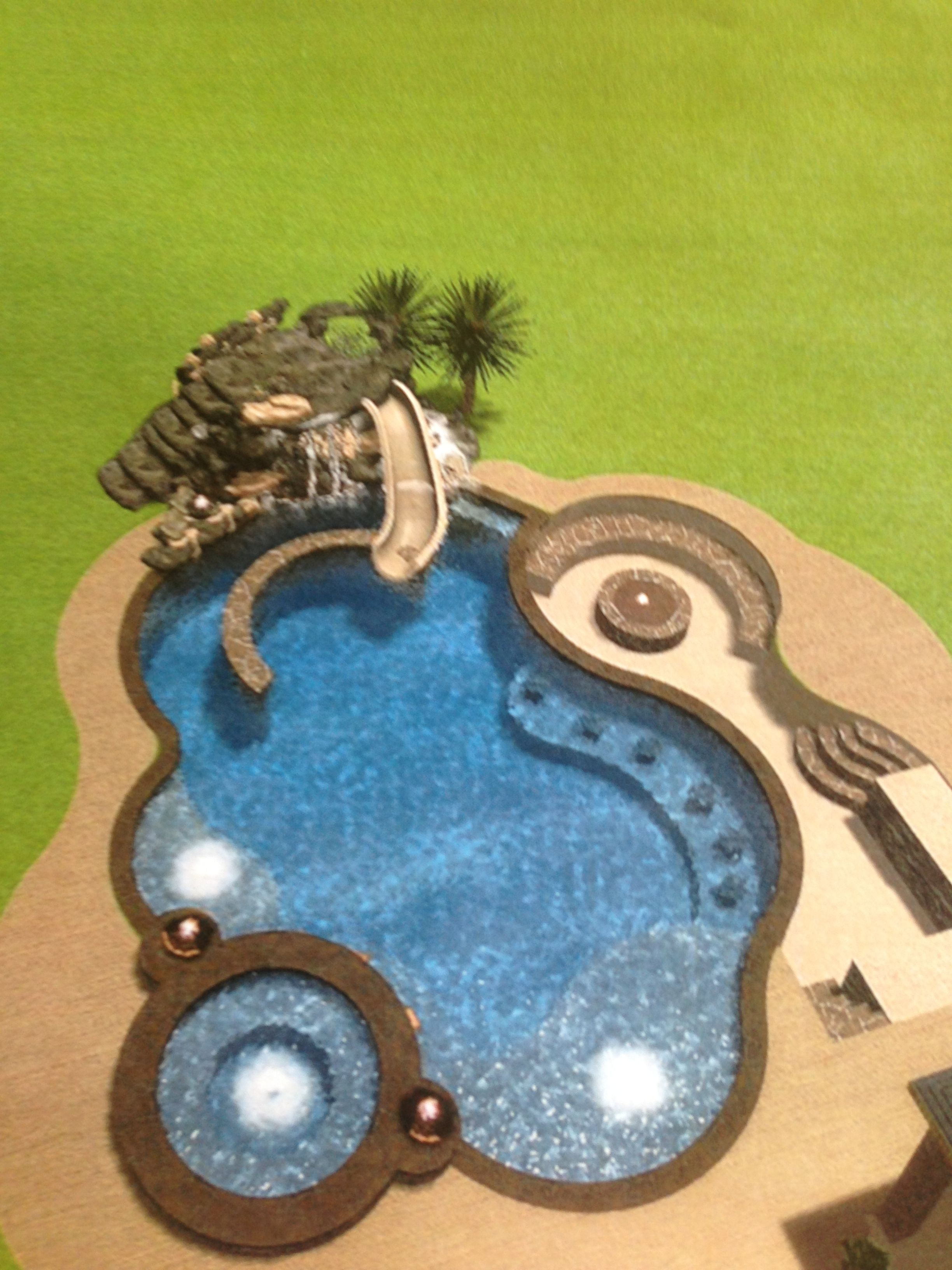 firepit worked into curve of pool design hot tub slide beach