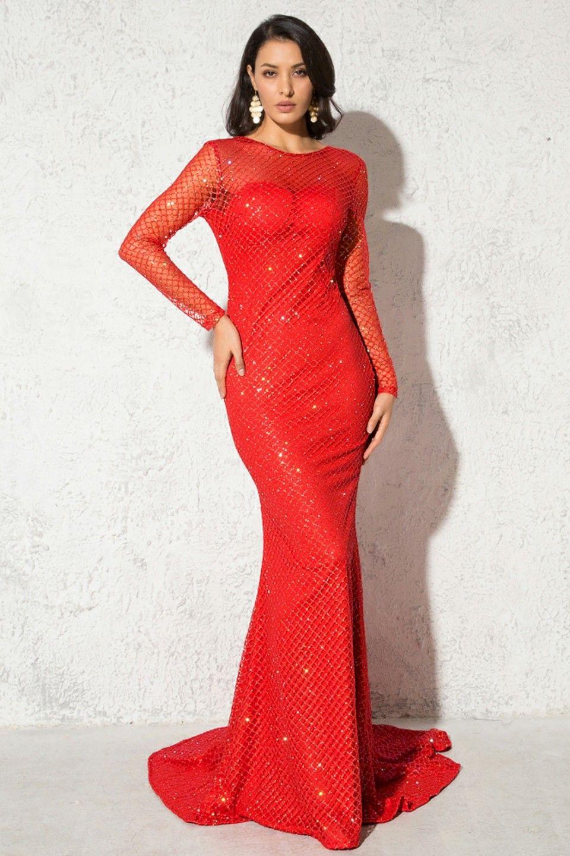 red mermaid dress long sleeve