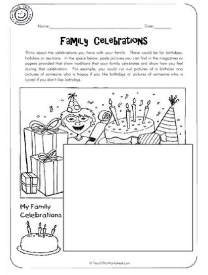 2 Family Celebrations History worksheets, Kindergarten