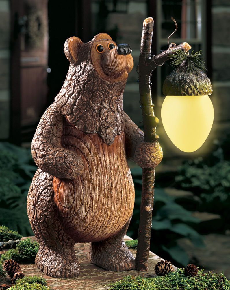Perfect Barney Bear Woodland Solar Power Garden Statue W/ Lighted Acorn Statue  Decor New