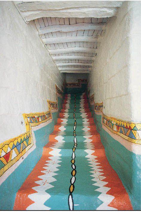Amazing painted staircase in Asir Saudi Arabia