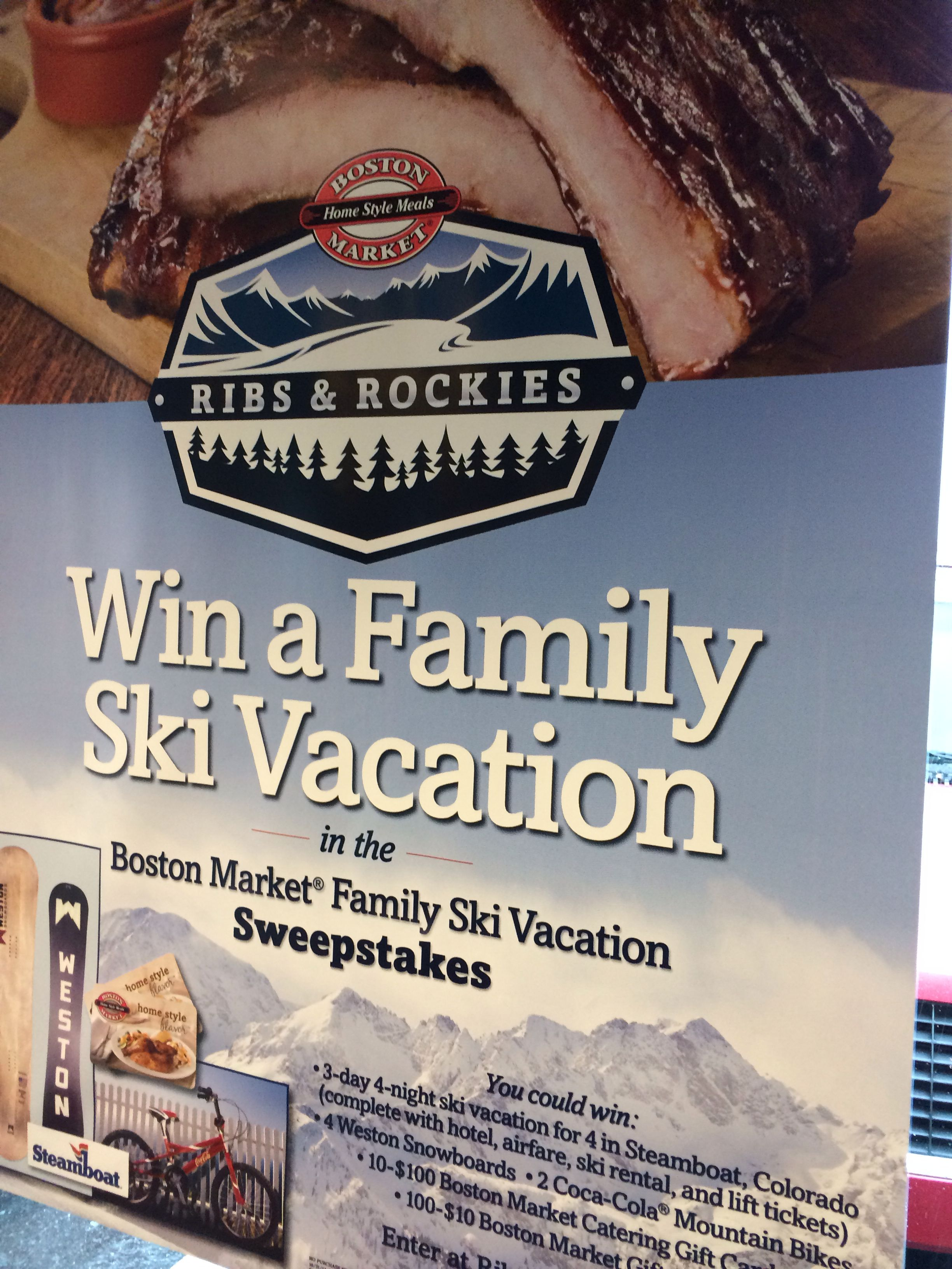 Boston Market Vacation sweepstakes, Ski vacation, Boston