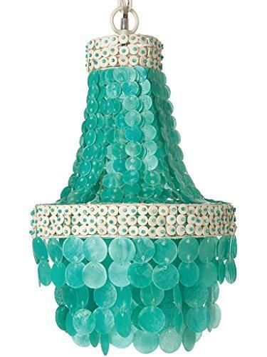 KOUBOO Manor Chandelier Capiz Seashell Small Turquoise