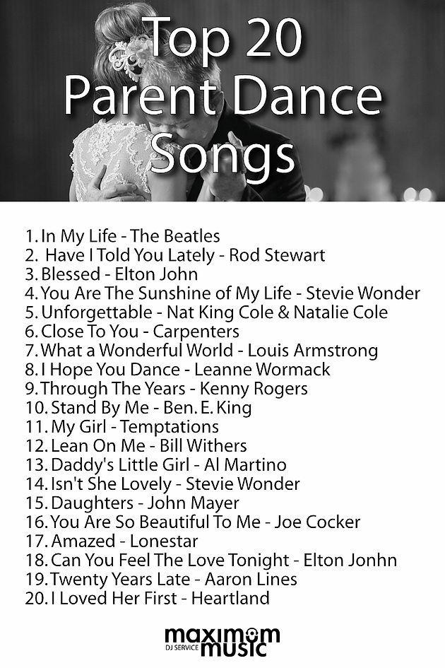Top 20 Parent Dance Songs Maximum Music Toronto Dj Services Wedding Songs Wedding Song List Wedding Music