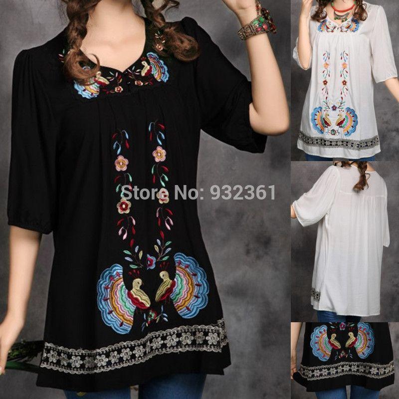 Vintage 70 s mexicano étnico bordado mujeres vestido de BOHO Hippie Mini Vestidos  ropa mujer blusa 25c78a91a352