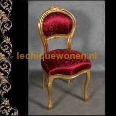 Rood gestoffeerde goud verguld  bureaustoeltje op cabriole pootjes