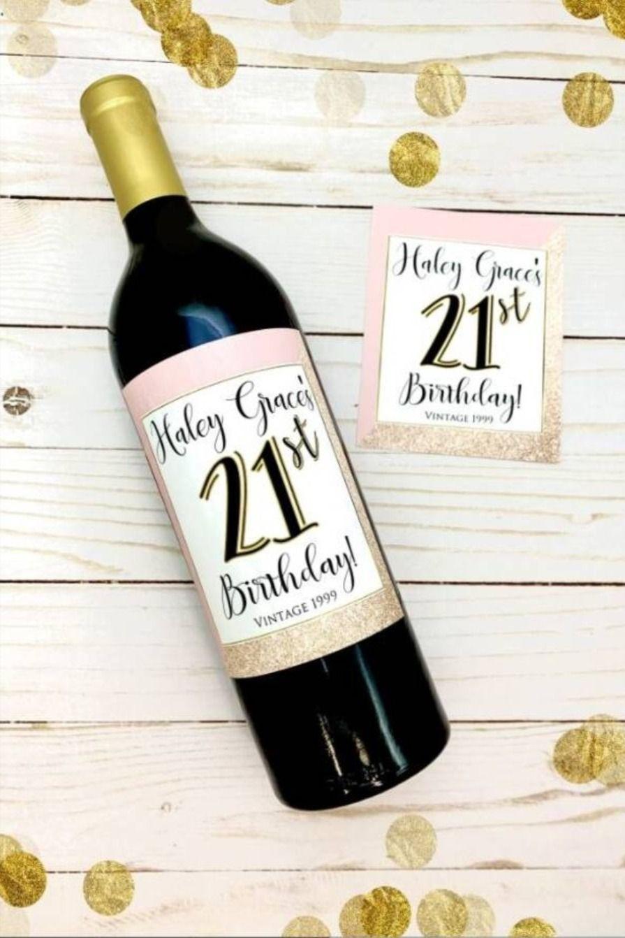 21st Birthday Wine Bottle Label Birthday Wine Bottle Labels Birthday Wine Bottles Wine Label Printable