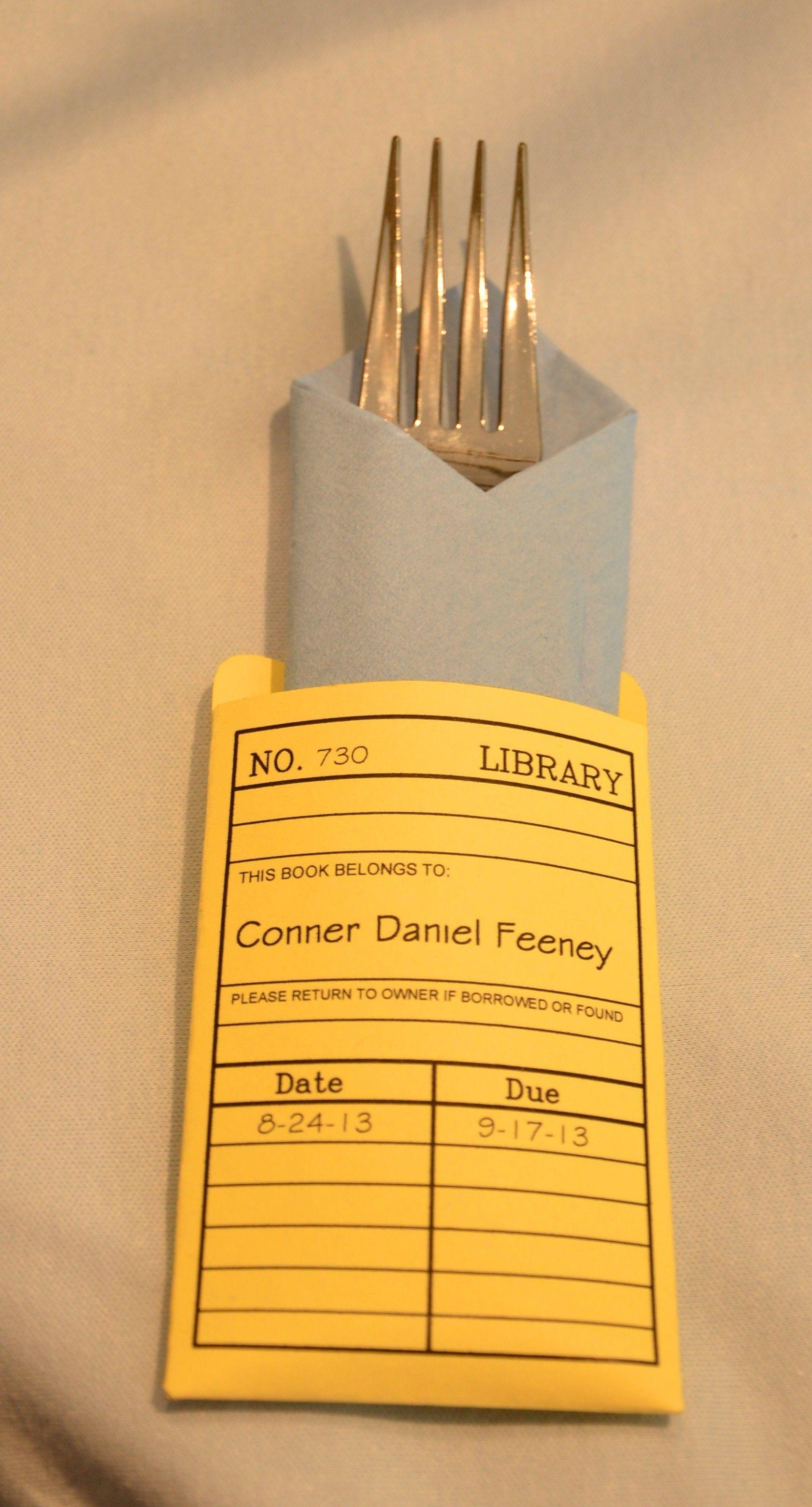 Library book card napkin holder