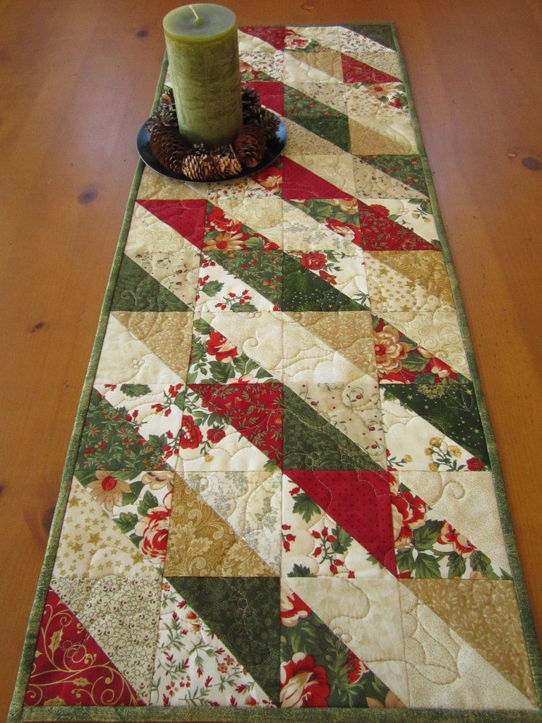 Christmas Table Runner in Green Red and Gold   Quilted table