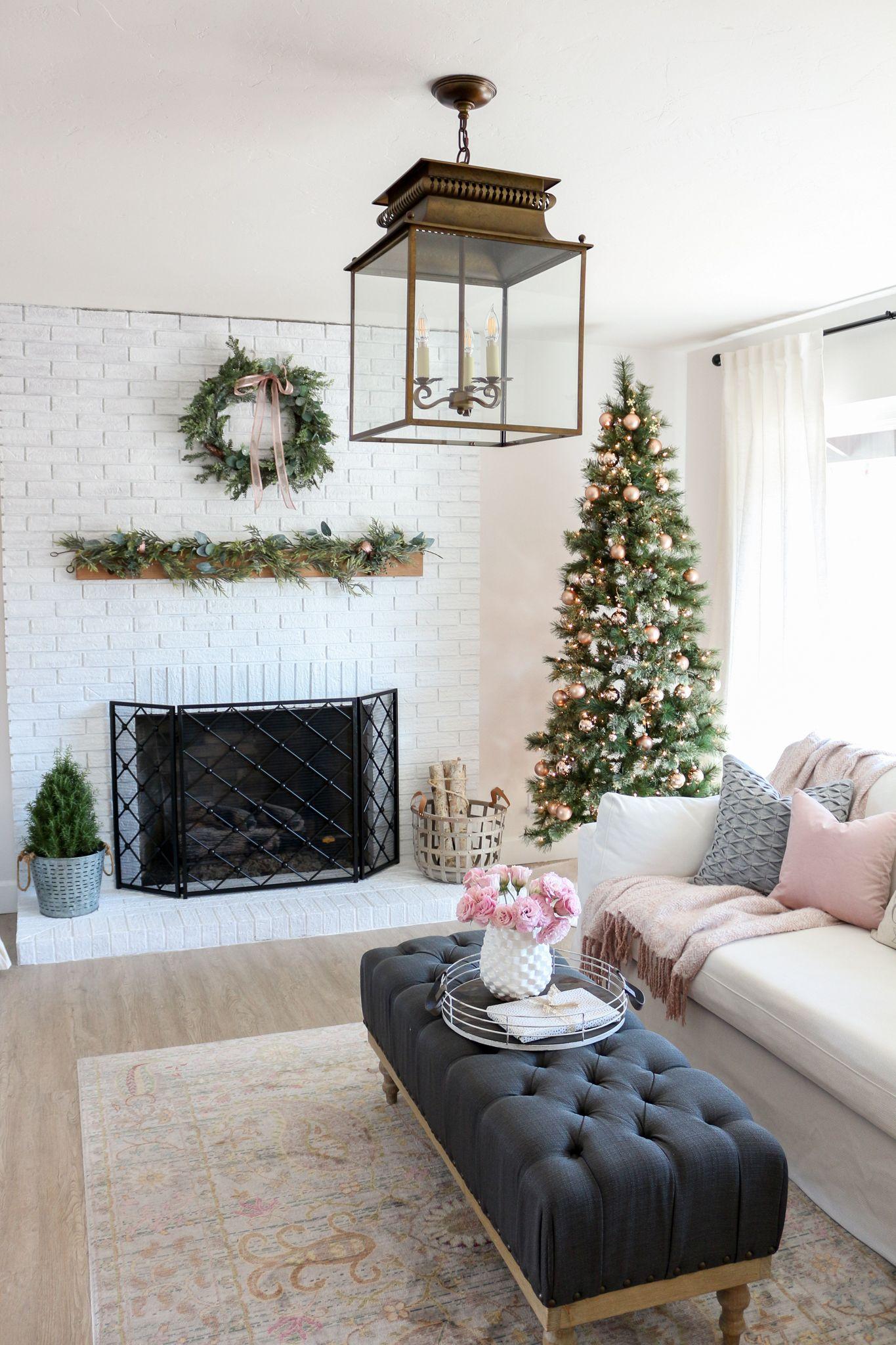 modern farmhouse style living room holiday tour  modern
