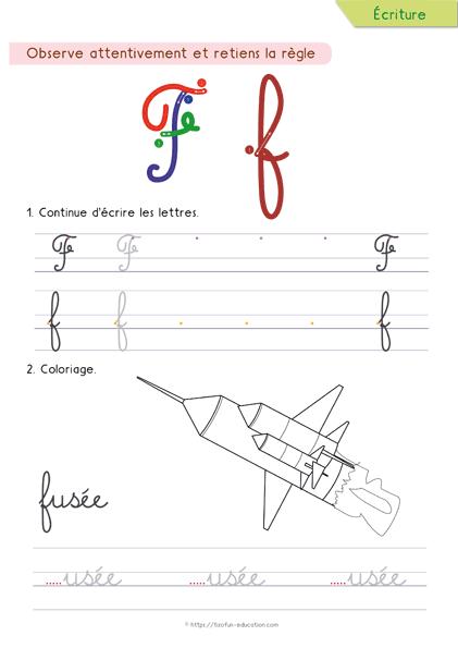 Exceptionnel 6-apprendre-a-ecrire-les-cursives-lettre-f | Education | Pinterest  JA24