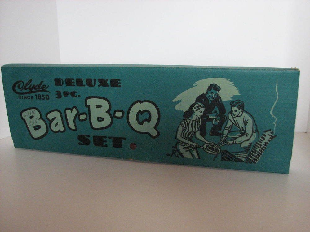 Vintage 1950-60's Mid Century Retro Clyde Deluxe 3pc Bar-B-Q Set Original Box