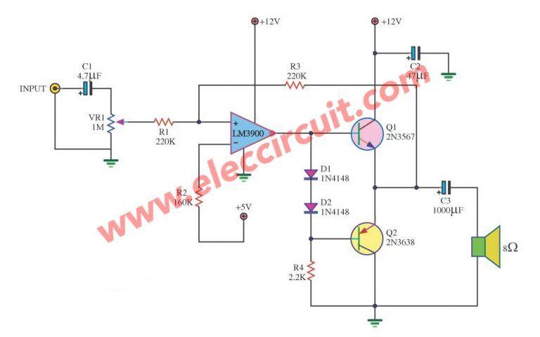 mini audio amplifier circuit guitar pedals computer music, audiomini audio amplifier circuit eleccircuit com