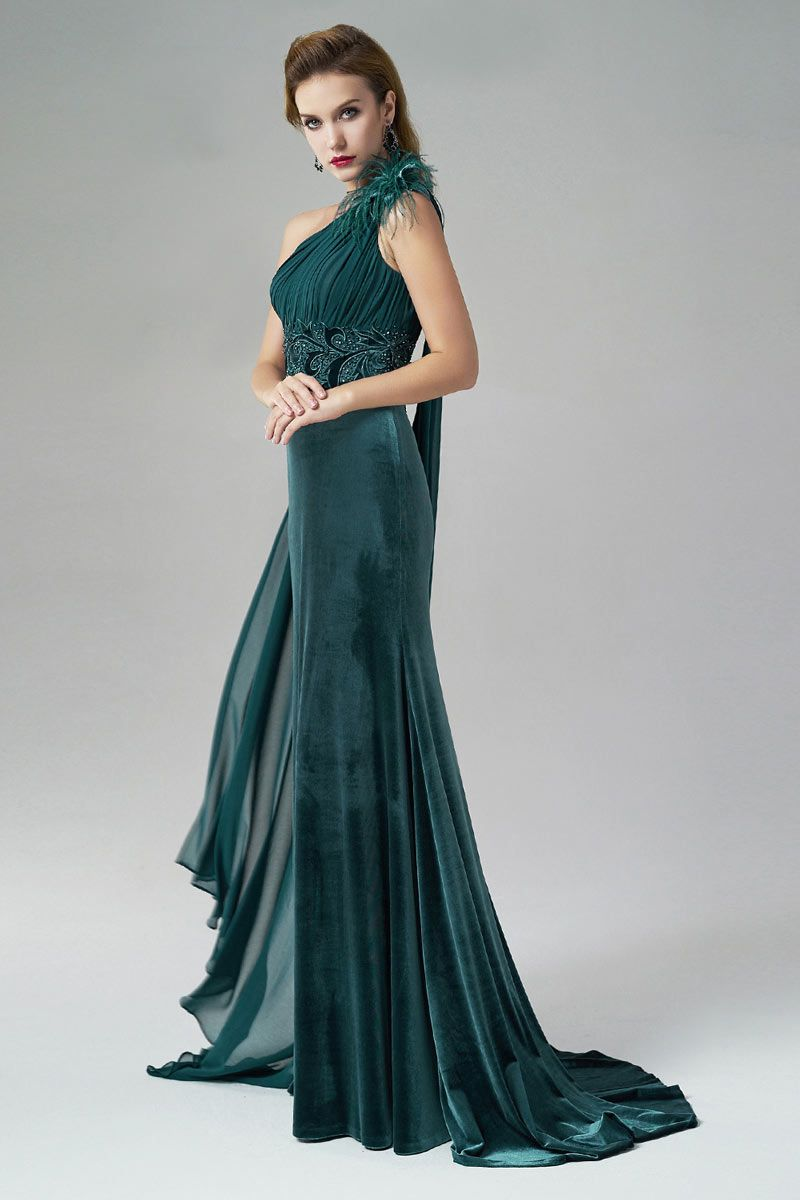 Dressesmall One Shoulder Feather Sheath Ruching Green Evening Gown ...