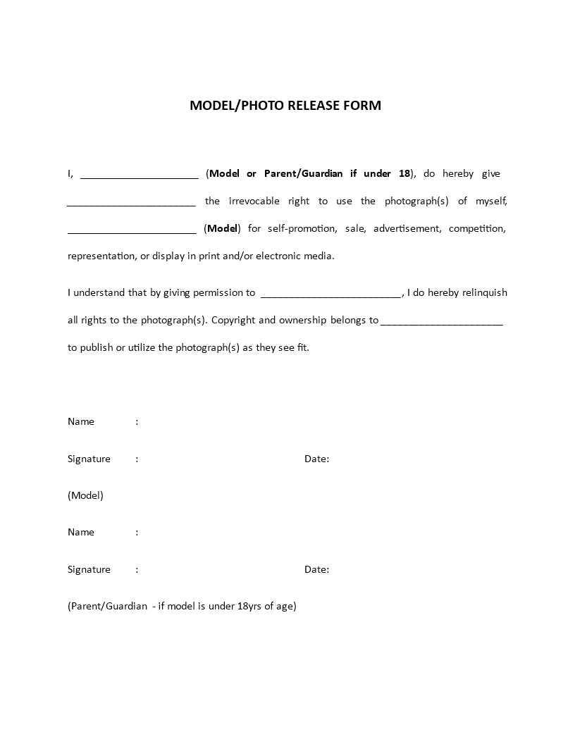 Model Release Form Template  Are You Hiring Models And Need To