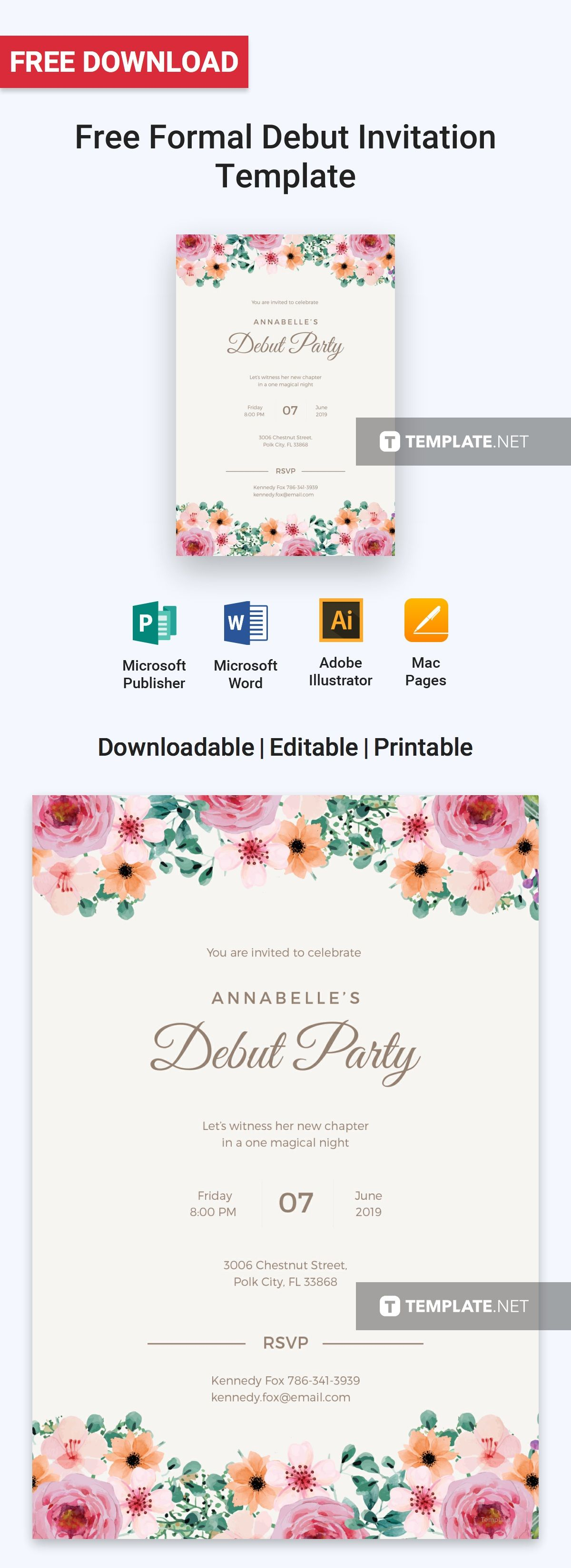 Free Formal Debut Invitation Template Illustrator Word Outlook Apple Pages Psd Publisher Template Net Debut Invitation Invitation Template Debut Invitation 18th