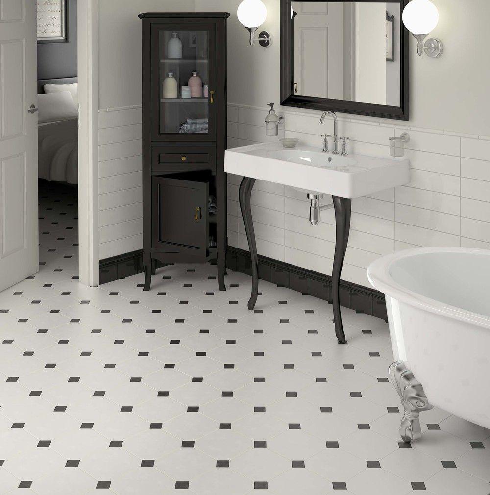 Bathroom With Octagonal Floor And Semi Gloss Wall Tile