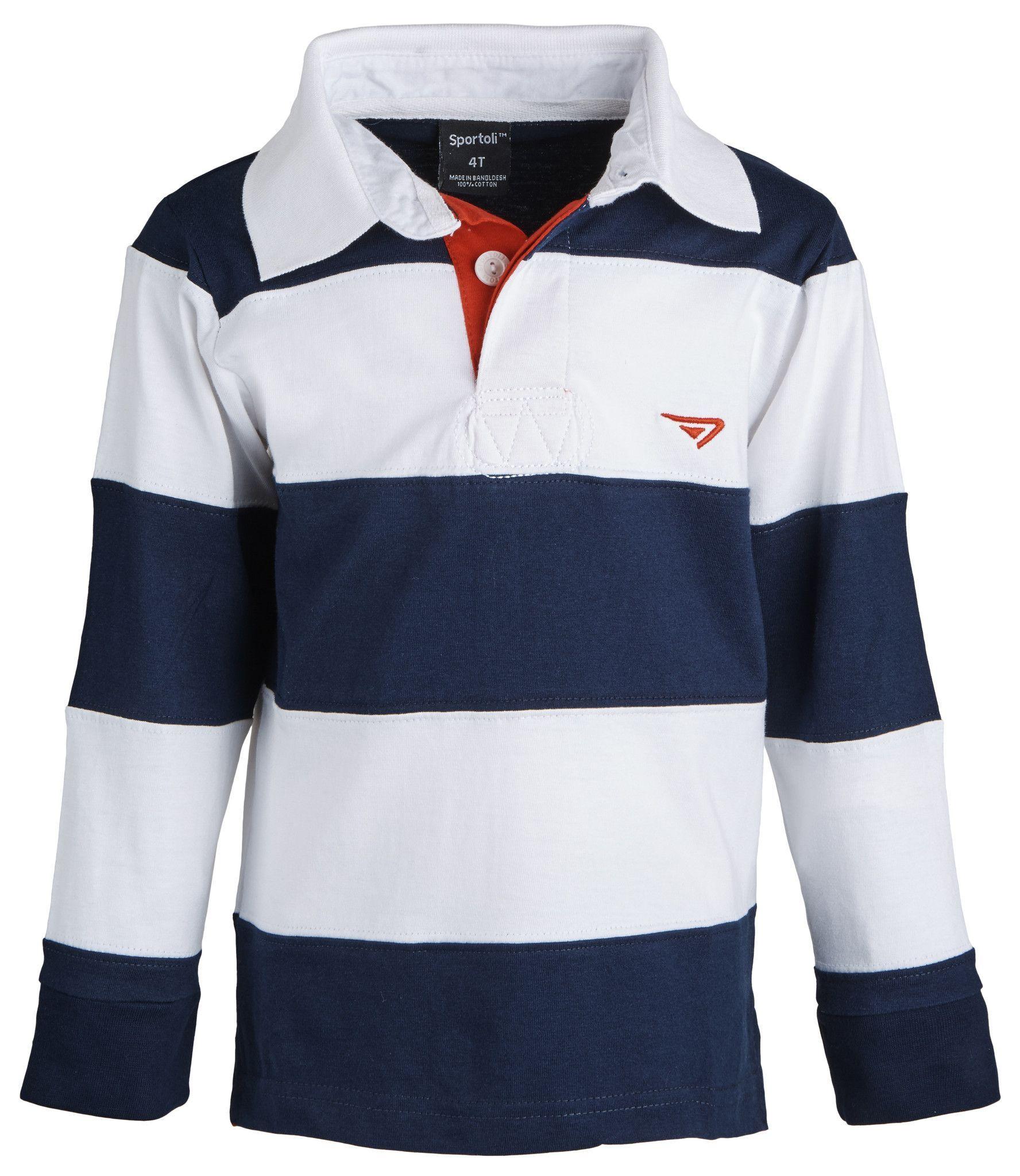b0dca44fa048ea Boys 100% Cotton Wide Striped Long Sleeve Polo Rugby Shirt