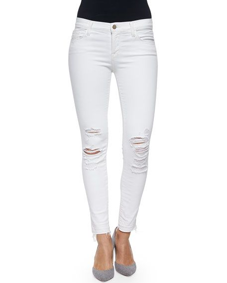 J BRAND Low-Rise Skinny Crop Jeans, Demented, White. #jbrand #cloth #